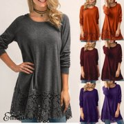 US Plus Size Women Long Sleeve Loose Cotton Blouse Shirt Lace Tops T-shirt S-3XL