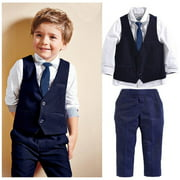 Fashion New Baby Kids Boys Suit Tops Shirt Waistcoat Tie Pants Formal Flower Boy´s 4PCS Outfits Clothes