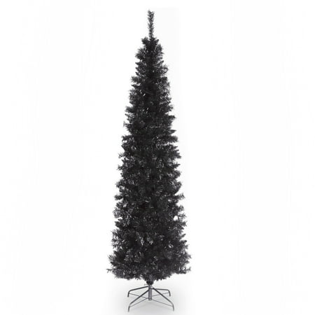 National Tree 6ft Tinsel Artificial Christmas Tree - - Evo Black Tree