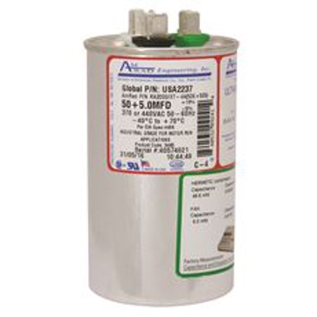 AMRAD ENGINEERING ROUND USA-MADE MOTOR RUN CAPACITOR, 50/5 MFD, 370/440 VAC