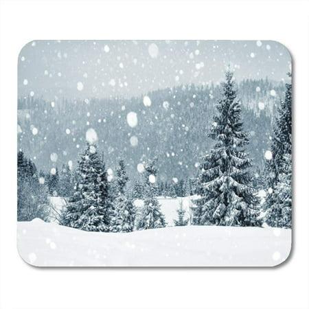 SIDONKU Silver Snowstorm Winter Wonderland Fir Trees Christmas Greetings Snowfall Blue Mousepad Mouse Pad Mouse Mat 9x10 inch - Winter Wonderland Blue