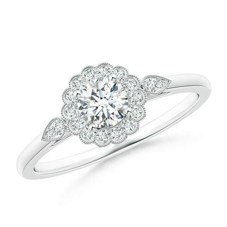 April Birthstone Ring - Scalloped-Edge Diamond Floral Halo Engagement Ring in 18K White Gold (4.5mm Diamond) - SR1541D-WGE-GHVS-4.5-6.5