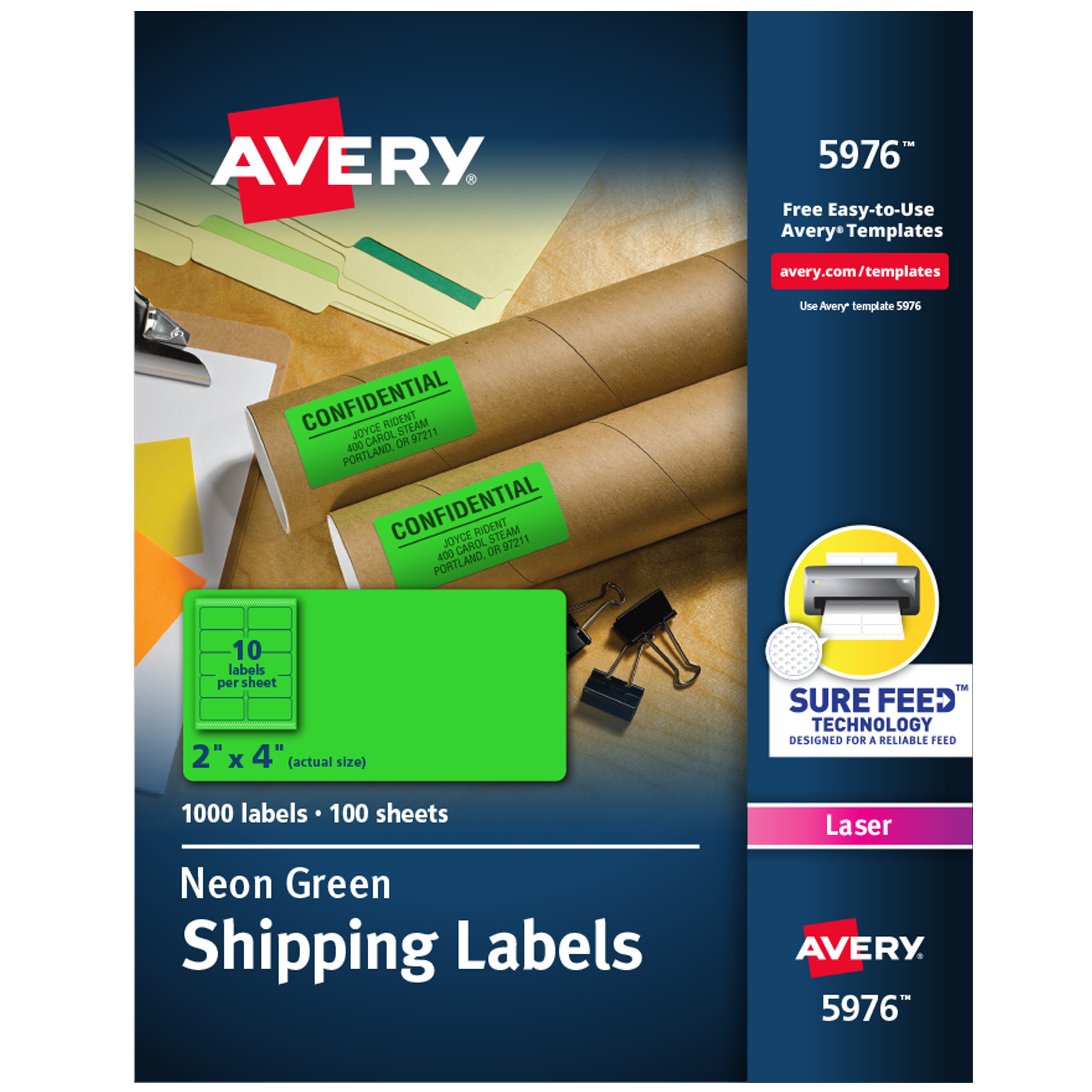 Avery 2 X 4 Neon Shipping Labels With Sure Feed 1 000 Labels 5976 Walmart Com Walmart Com