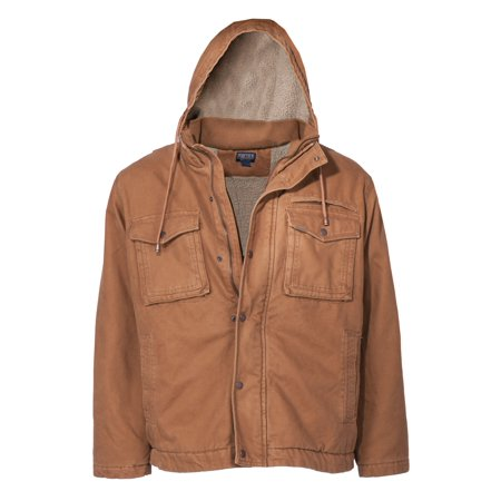 - Men's Sherpa Lined Duck Canvas Hooded Work Jacket