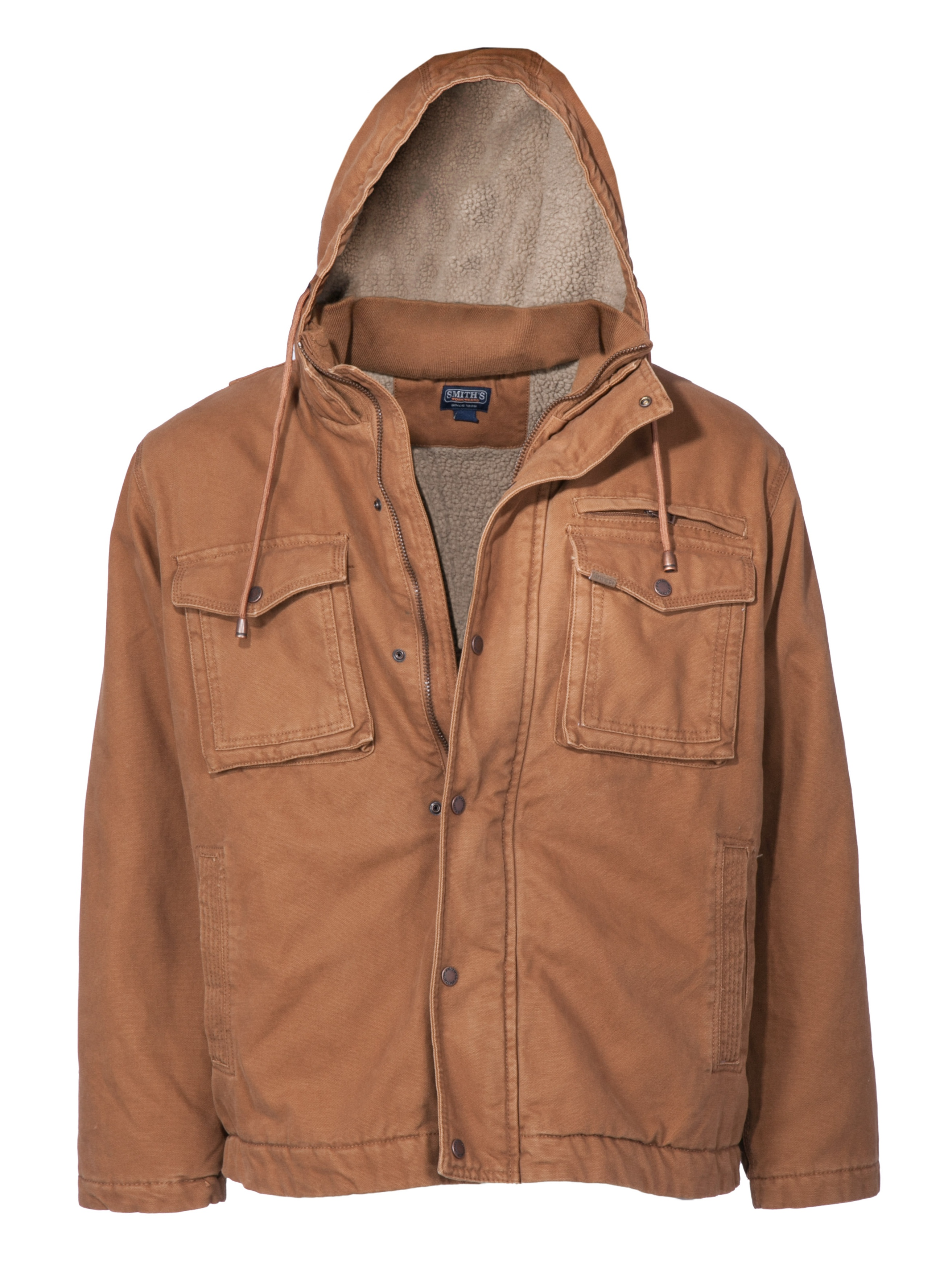 Men's Sherpa Lined Duck Canvas Hooded Work Jacket