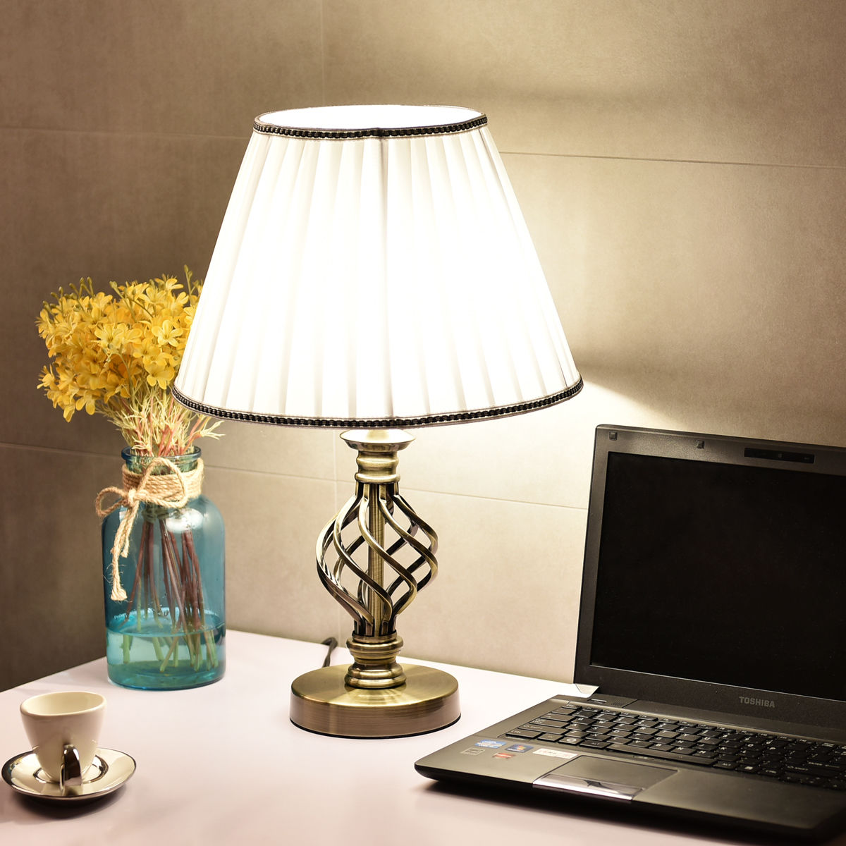 Costway 13'' Antique Brass Bedside Table Lamp w  LED Bulb Office Light White by Costway