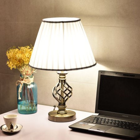 Costway 13 39 39 antique brass bedside table lamp w led bulb office light white for Bedroom lamps walmart