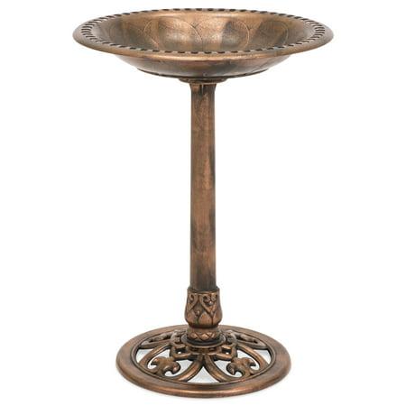 Best Choice Products Outdoor Resin Garden Pedestal Bird Bath Vintage Decor, Copper ()