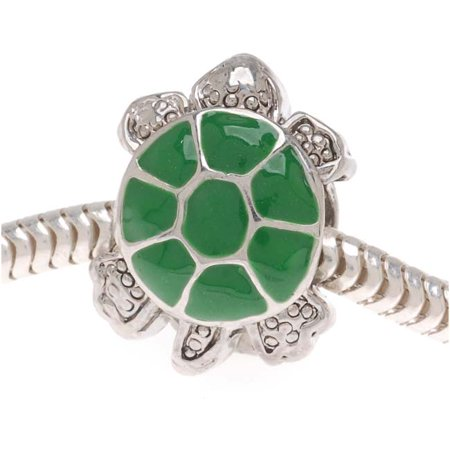 Silver Tone Turtle (Silver Tone Two Sided Green Enamel Turtle - European Style Large Hole Bead (1) )