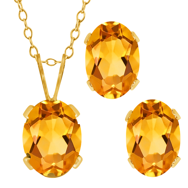 1.40 Ct Oval Citrine Gold Plated Silver Pendant Earrings Set