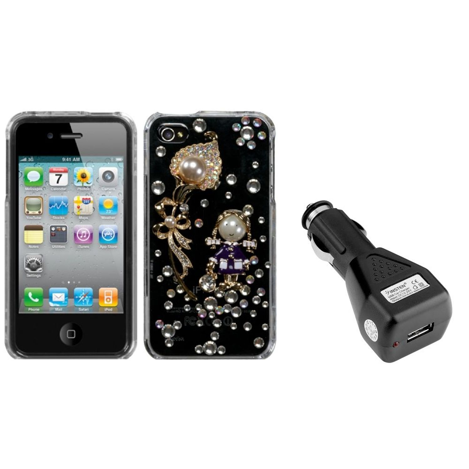 Insten Debby/The Pearl Flower Crystal 3D Case For iPhone 4 4S + USB Car Charger