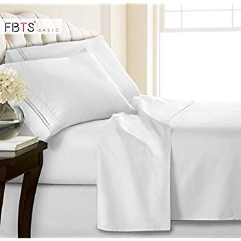 Queen Sheets, Fitted Flat 4 Piece Bed Sheet Set, 1800 ...