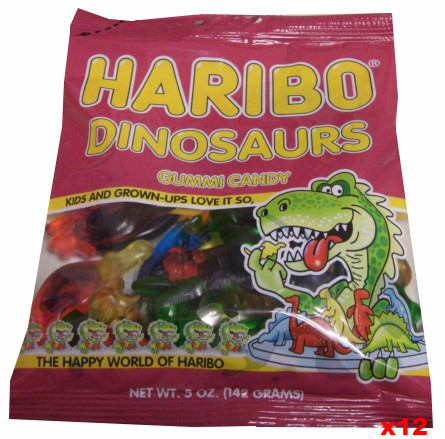 Haribo Dinosaurs Gummi Candy, CASE (12 x 5 oz Bags)