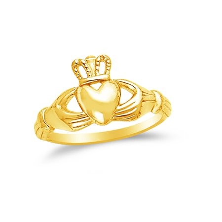 14k Yellow Gold Claddagh Ring , Size 7 (Yellow Gold Engagement Claddagh Ring)