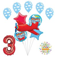 Airplane 3rd Birthday Party Supplies Vintage Plane Balloon Bouquet Decorations