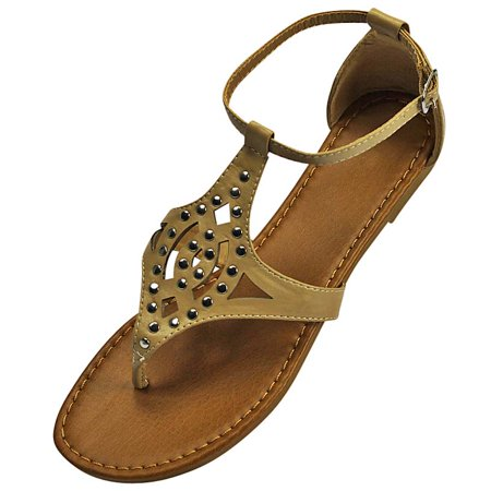 Beige Ankle Strap (Beige Studded Womens Flat Sandals With Ankle)