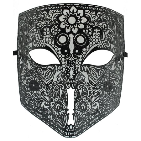 BLACK LASER CUT METAL - Full Face Bauta Mask - - Full Venetian Mask