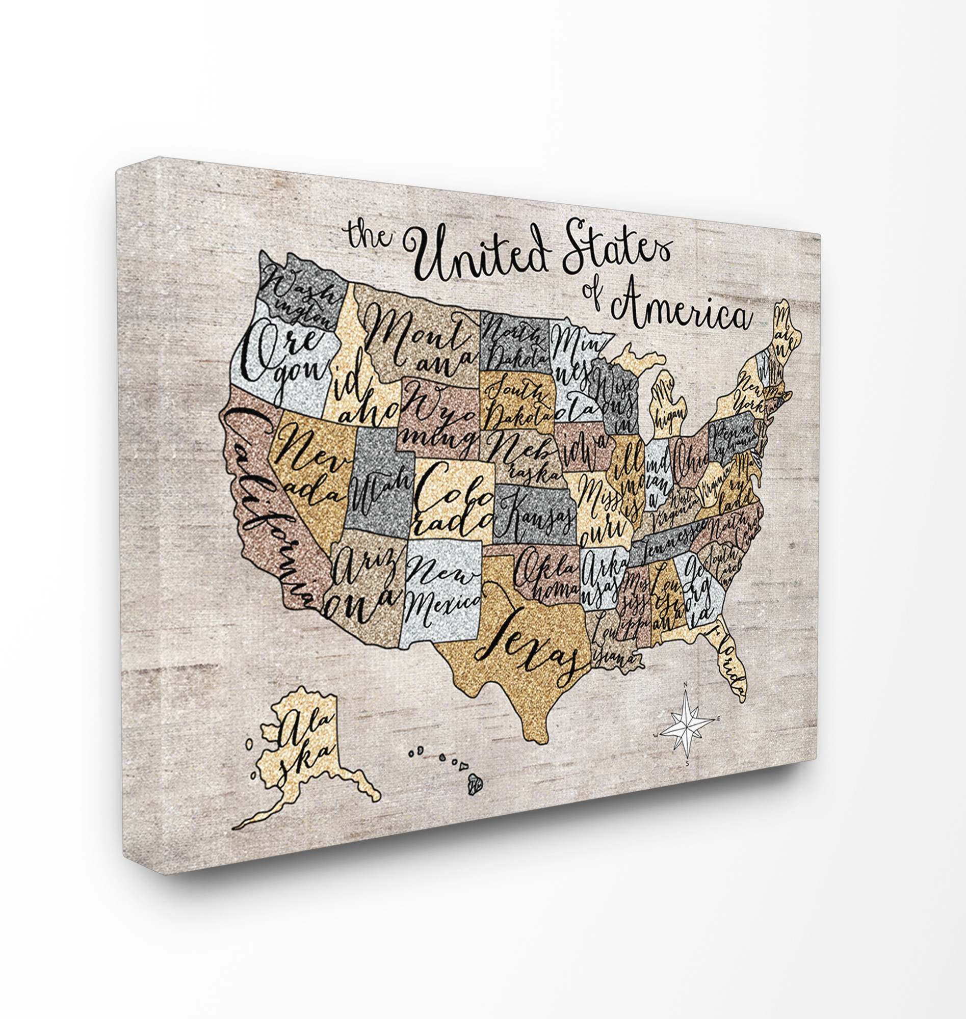 United States Map Canvas Wall Art.The Kids Room By Stupell United States Map Typography Art Xxl