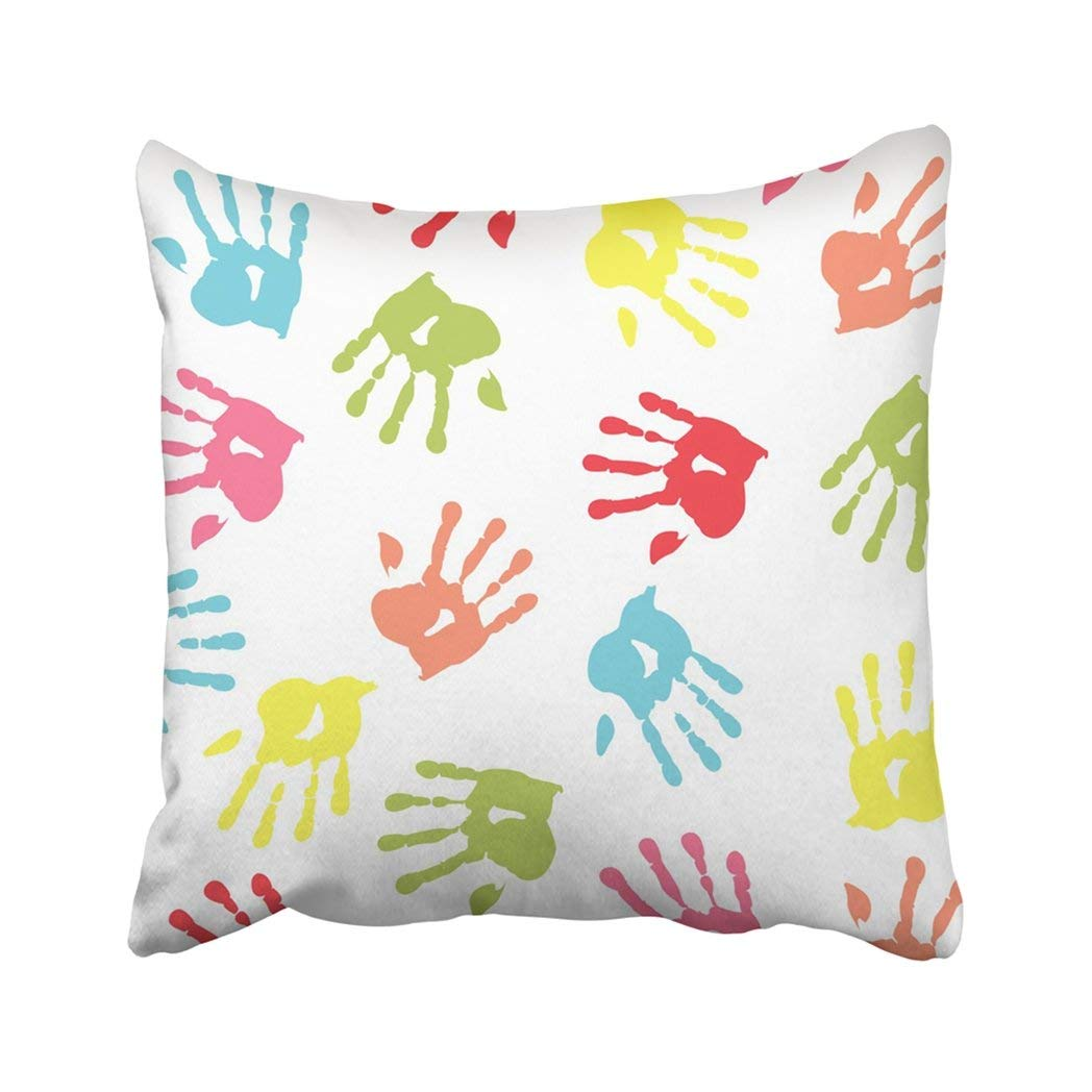 BPBOP White Kid Colorful Handprint Green Hand Boy Baby Little Paint Girl Mark Pillowcase Throw Pillow Cover Case 18x18 inches