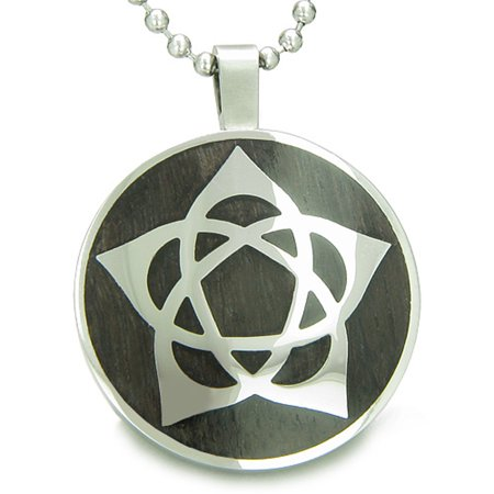 Flower Of Life Wiccan Pentacle Star Black Wood Amulet Pendant 22 Inch Necklace