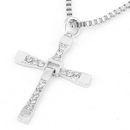 Plastic Rhinestone Decor Cross Design Pendant Chain Necklace -