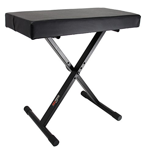 Gearlux Adjustable Keyboard Bench with Deluxe Padding Black by