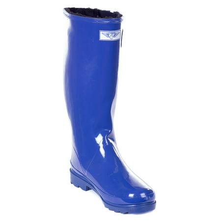 Women Rubber Rain Boots, Blue /w Faux Fur - Blue Faux Fur Boots