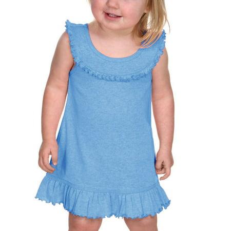 Kavio I1P0626 Infants Girls Ruffle Collar Tank Dress-Azure-18M (Black And Hot Pink Flower Girl Dresses)