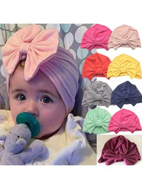 Multitrust Headwrap Solid Color Kids Baby Turban Ball Knot Newborn Beanie Hat Winter Cap