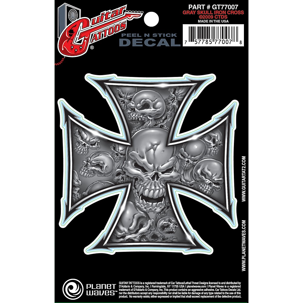D'Addario Planet Waves Guitar Tattoo Decal Gray Iron Cross