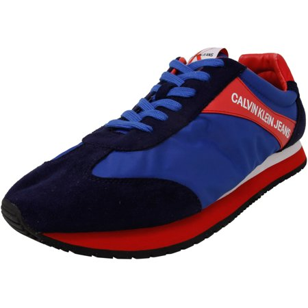 Calvin Klein Men's Jerrold Nylon And Smooth Suede Nappa Blue Multi Ankle-High Sneaker - 13M