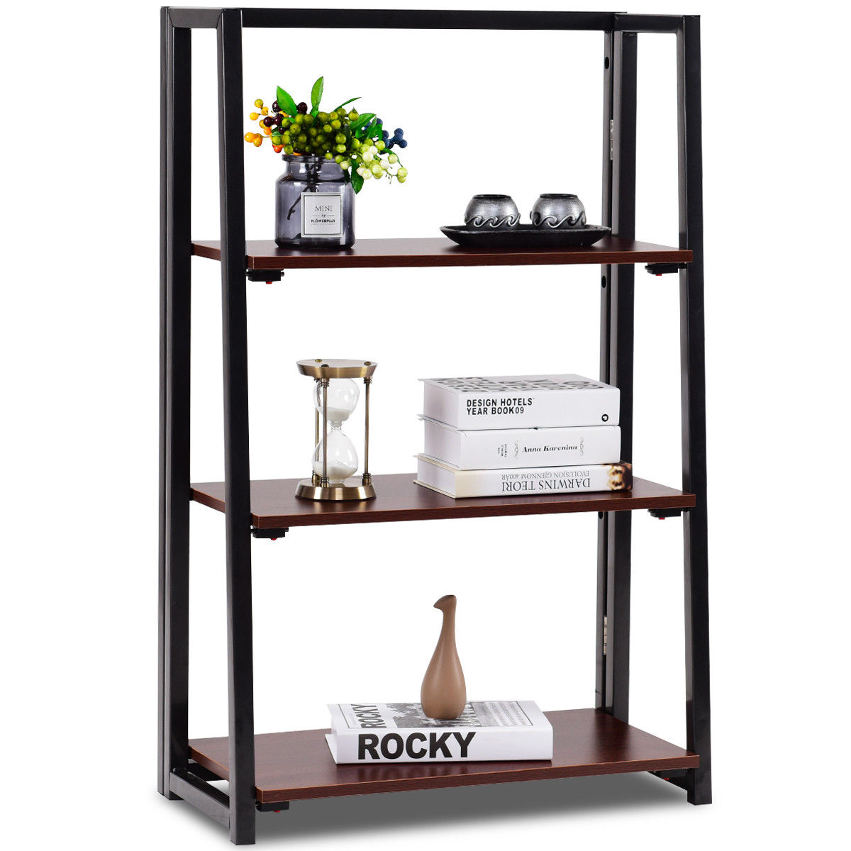 Gymax 3 Tier Folding Ladder Bookcase Multifunctional Plant Flower Display Stand Shelf