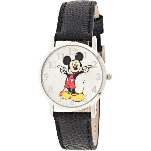 Disney Women's Mickey Mouse Molded-Hands Black Watch, Genuine Leather