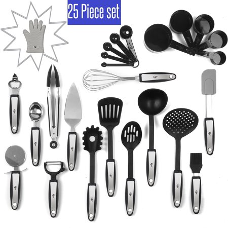25 Piece Kitchen Tools Set Stainless Steel and Nylon Utensils Tongs,  Spatula, ..