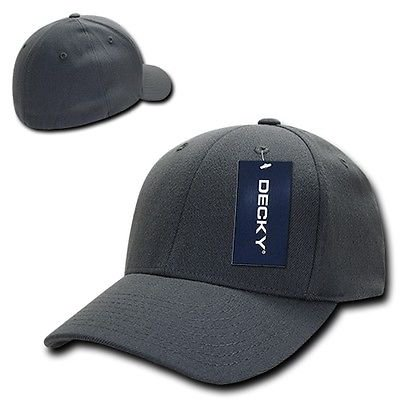 Charcoal Gray Solid Blank Plain Flex Curved Baseball Ball Fit Fitted Cap Hat S/M