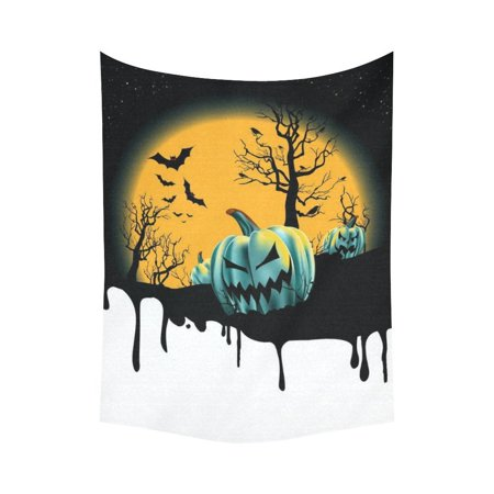 PHFZK Full Moon Wall Art Home Decor, a Dripping Halloween Background with Pumpkin Tapestry Wall Hanging 60 X 80 Inches](Halloween Tapestry)