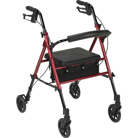 Drive Medical Adjustable Height Rollator With 6  Wheels  Red