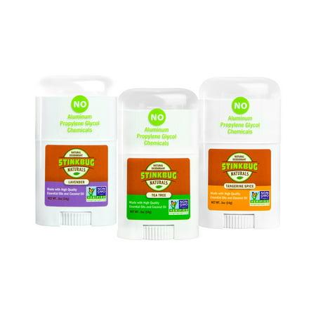 Stinkbug Naturals Travel Size Deodorant Variety Pack, Lavender, Tea Tree, Tangerine Spice, .5oz, 3