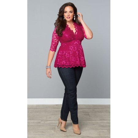 Senfloco Elegant Plus Size Tops Blouses 3/4 Sleeve Lace Pleated Peplum  Shirts Blouses for Women