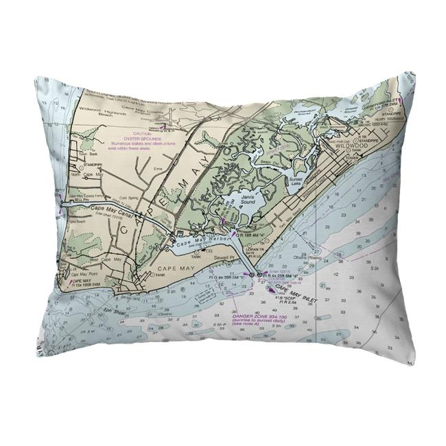 Betsy Drake NC12214CM 16 x 20 in. Cape May, NJ Nautical Map Noncorded Indoor & Outdoor Pillow - image 1 of 1