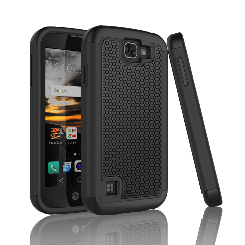 LG K3 Case, Rugged Rubber Shock Absorbing Hybrid Plastic Defender Bumper  Slim Hard Grip Case Cover For LG K3 Boost Mobile / Virgin Mobile LS450  Njjex