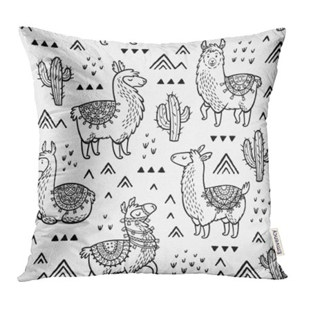 YWOTA Colorful Llama Outline Lamas Ink Coloring Book Peru Cactus Desert Drawn Doodle Black Pillow Cases Cushion Cover 20x20 - Halloween Color Pages Online