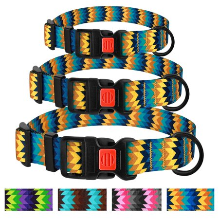 Adjustable Dog Collar Pet Nylon Collars for Medium Dogs Puppy with Buckle Colorful Design, Yellow / Blue (Adjustable Nylon Dog Pet Collar)