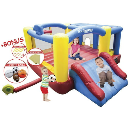Picassotiles Kc102 12 X 10 Inflatable Bouncer Jumping Bouncing House  Jump Slide And Dunk Playhouse Featuring Basketinball Rim  4 Sports Balls  Extended Slider  Full Size Entry And Quick Setup