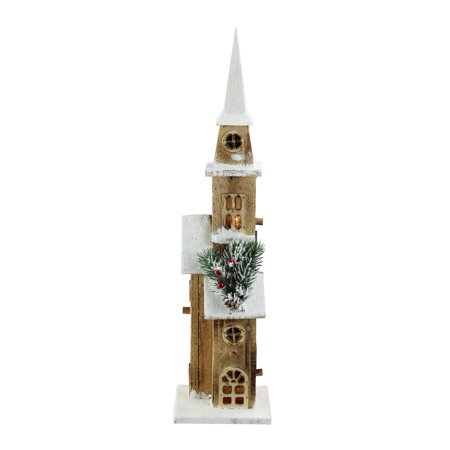 20.75 LED Lighted Brown Wooden Frosted Church Table Top Christmas Decoration - image 2 of 2