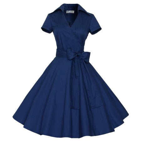 Women Vintage Style 50'S 60'S Swing Pinup Retro casual Housewife Christmas Party Ball Fashion Dress (Medieval Dresses For Women)