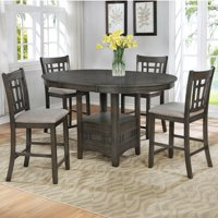 Grey Color Traditional Style 5pc Counter HT.Dining Leaf Table & Chairs Upholstery Seat