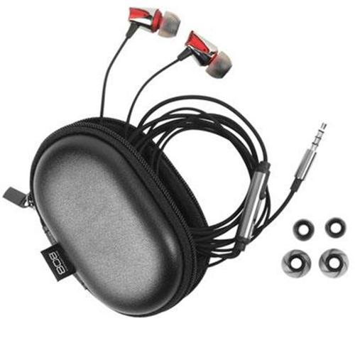 VOXX HPA85RD EQ Noise-Isolating Earbud with Inline Mic, Red