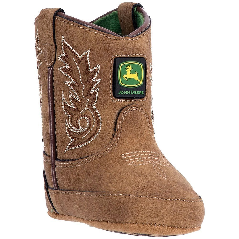 John Deere Boys Girls Tan Stitch Logo Detail Pull-On Crib Boots by John Deere