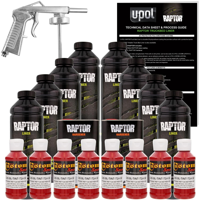 raptor hot rod red urethane spray-on truck bed liner spray gun, 8